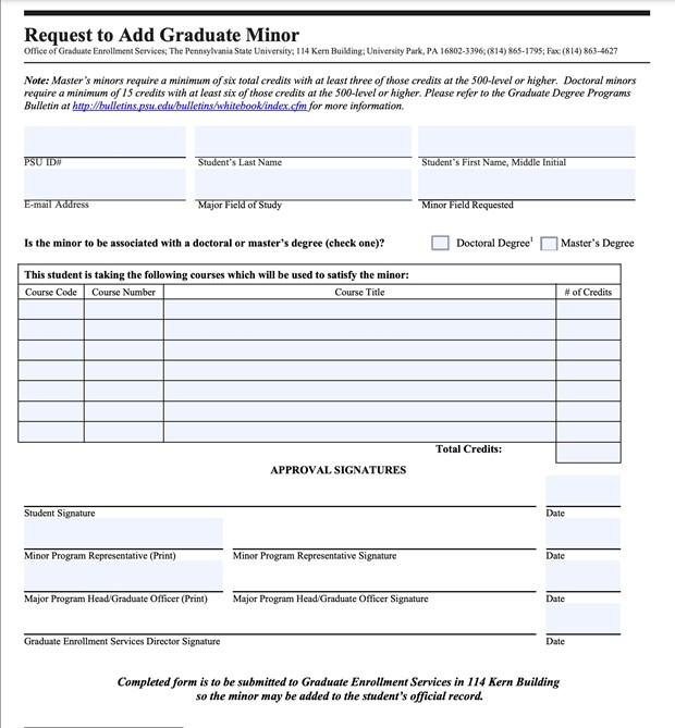 Request to Add Graduate Minor Form